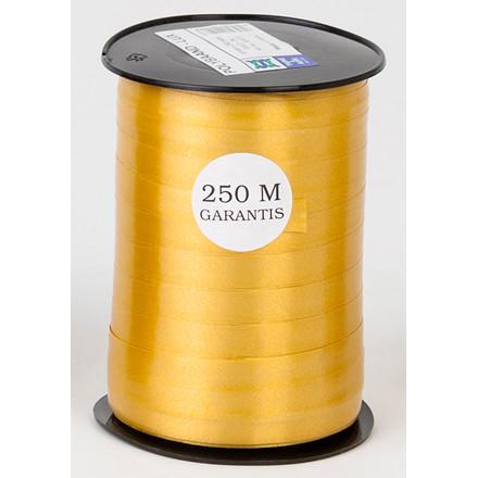 Gavebånd - glat i guld 10 mm x 250 meter, 5 ruller i pakken, nr. 06