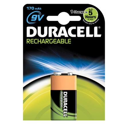 Genopladelig Duracell Batteri 9V - 170 mAh 1 stk pr. pakke