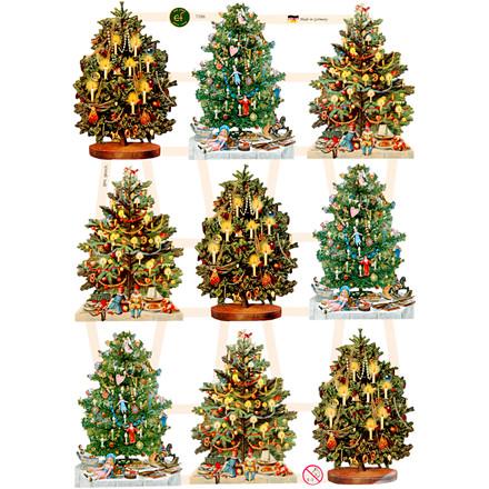 Glansbilleder ark 16,5 x 23,5 cm juletræer   3 ark