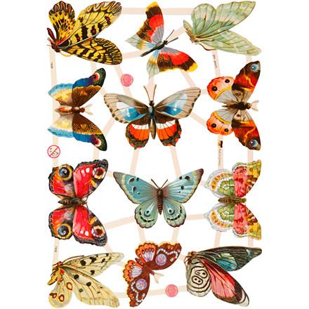 Glansbilleder, ark 16,5x23,5 cm, sommerfugle, 3ark