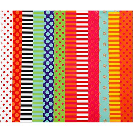 Glanspapir til julepynt med print 12 designs størrelse 24 x 32 cm 80 gram - 50 ark