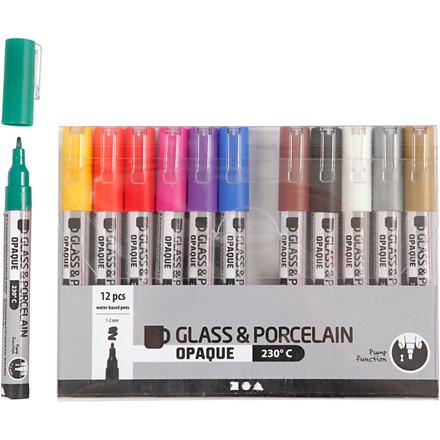 Glas- og porcelænstusch, stregtykkelse: 1-2 mm, ass. farver, dækkende, 12stk.