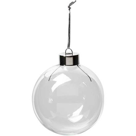 Glaskugle diameter 7,9 cm højde 8,9 cm transparent - 6 stk.