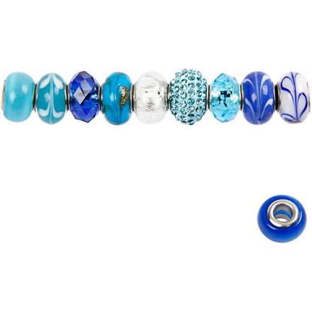 Glaslinks - harmoni, 13-15 mm, blå harmoni, 10 ass.
