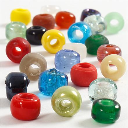 Glasperlemix, dia. 9 mm, hulstr. 2,5-3 mm, ass. farver, 75g