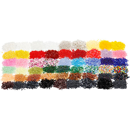 Glasperler, 0,9-1,2 mm, ass. farver, 100x25 g