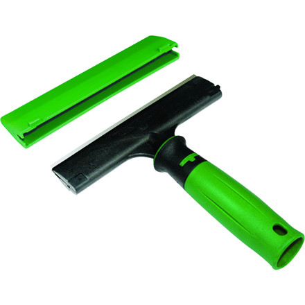 Glasskraber, Unger ErgoTec, grøn og sort, med ergonomisk håndtag, vendbart blad, sikkerhedslås, 15,5