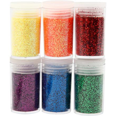 Glitter, ass. farver, 6x5g