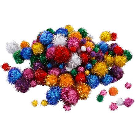 Glitter pomponer diameter 15-40 mm 62 gram | 75 stk.