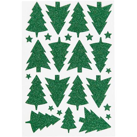 Glitter klistermærker ark 12 x 18,5 cm - grøn juletræ