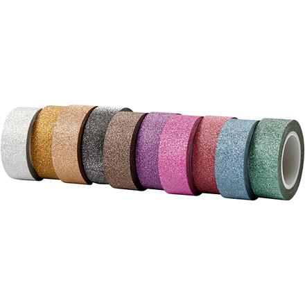 Glittertape, B: 15 mm, 10x6m