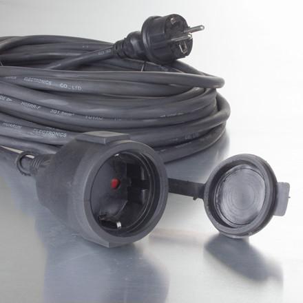 Gummikabel til udendørsbrug 10m sort H05RR-F 3G1.5