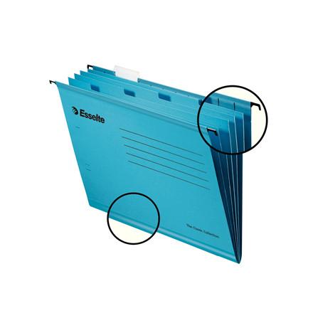 Hængemappe A4 med 4 rum Esselte Classic blå - 10 stk. pr. pakke