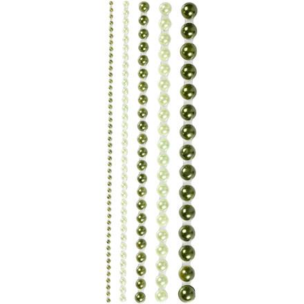 Halv-perler, str. 2-8 mm, grøn, London, 140ass.