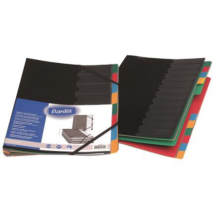 Harmonika- og sorteringsmappe sort A4 8-delt PP 8x40-50 ark