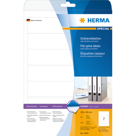 HERMA File spine labels white 192x38 Herma A4 175 pcs.