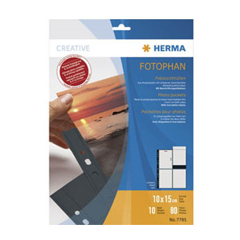 Fotolommer 10x15 cm sort A4 med 8 lommer Herma - 10 stk.