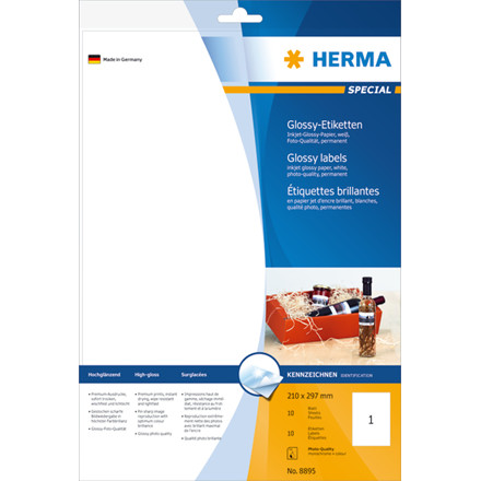 HERMA Inkjet labels glossy white 210x297 Herma A4 10 pcs.