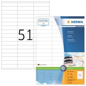 HERMA Labels white 70x16,9 Herma Premium A4 5100pcs