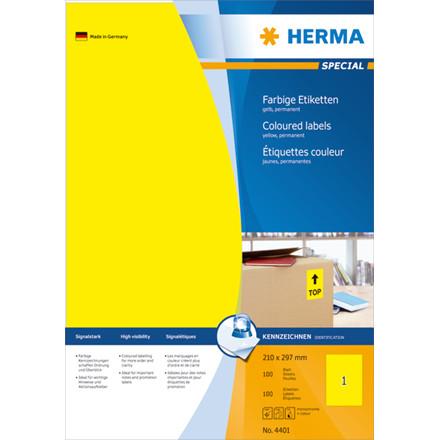 HERMA Labels yellow 210x297 Herma A4 100 pcs.