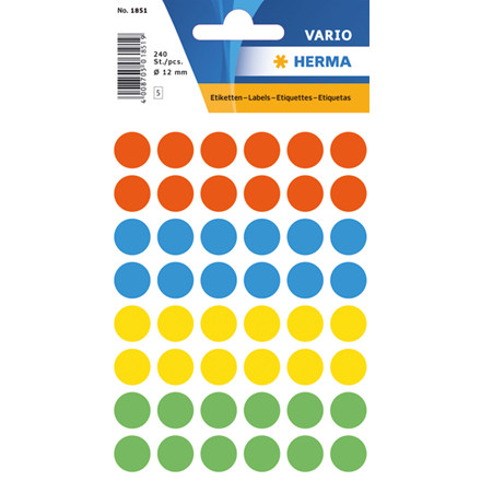 HERMA Multi-purpose labels Herma ø 12 mm colours assorted 240 pcs.