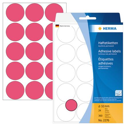 HERMA Multi-purpose labels Herma ø 32mm luminous red 360 pcs.