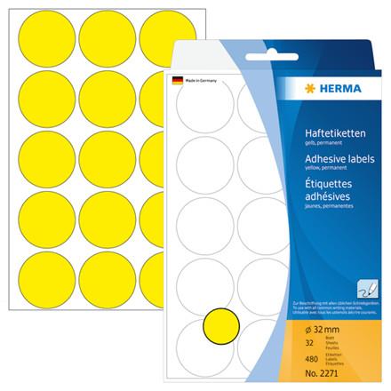 HERMA Multi-purpose labels Herma ø 32mm yellow 480 pcs.