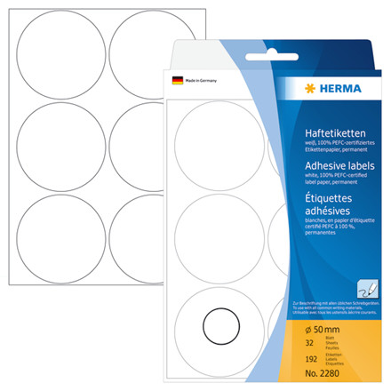 HERMA Multi-purpose labels Herma ø 50mm white 192 pcs.
