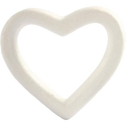 Hjerte, styropor - Bredde 13,5 cm