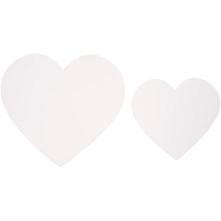 Hjerter størrelse 6+8,5 cm 240 gram hvid karton assorteret | 50 stk.