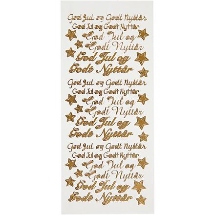 Hobby stickers, ark 10x23 cm, guld, God Jul og Godt Nyttår, 5ark