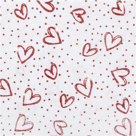 Hobbyfilt, A4 21x30 cm, tykkelse 1 mm, hvid, rød glimmer hjerter og prikker, 10ark