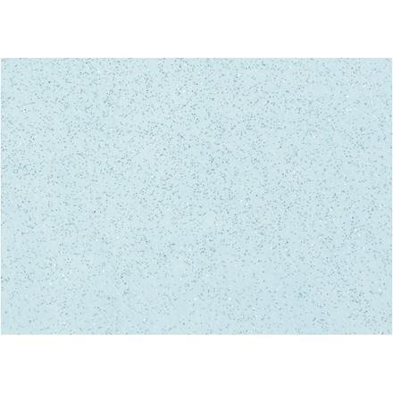 Hobbyfilt A4 21 x 30 cm tykkelse 1 mm lys blå sølv glimmerdrys | 10 ark