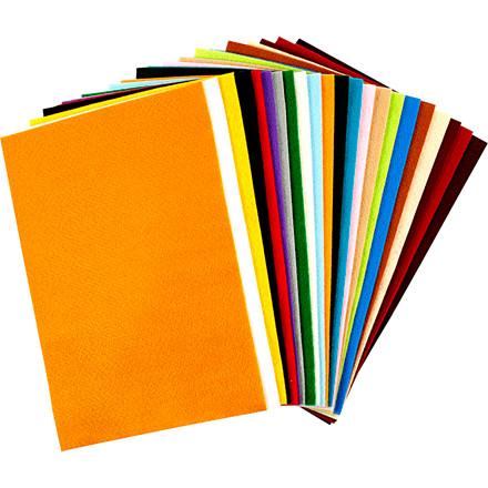 Hobbyfilt ark 20 x 30 cm tykkelse 1,5 mm assorteret farver | 24 ark