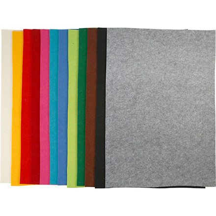 Filt ark 42 x 60 cm tykkelse 3 mm assorteret farver | 12 ark