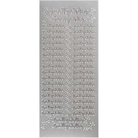 Hobbystickers, 10x23 cm, sølv, Indbydelse, 5 ark