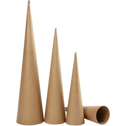 Høje kegler papmaché, Højde 30 - 40 - 50 cm, diameter 8 - 9 - 11,5 cm - 3 stk