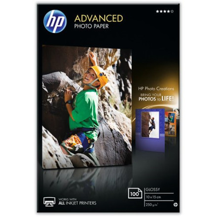 HP - 10 x 15 cm Advanced Glossy Foto Papir 250 gram - 100 ark