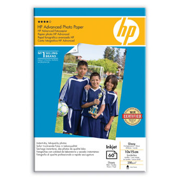 HP - Advanced Glossy Foto papir 10 x 15 cm 250 gram borderless - 60 ark