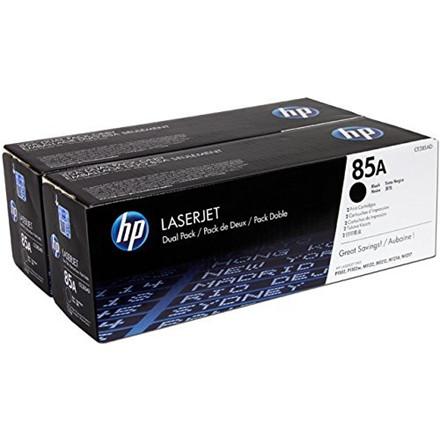 HP LaserJet 85A black toner, (2) dual-pack