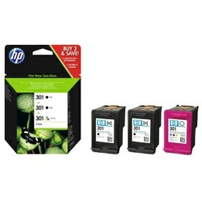 HP No301 Combo pack ink cartridgesblack (2) color (1)