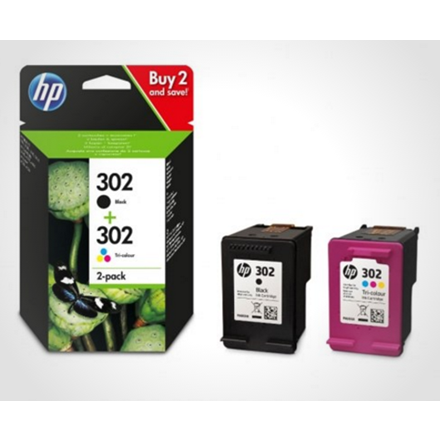 HP No302 ink cartridges combo 2-pack, blistered