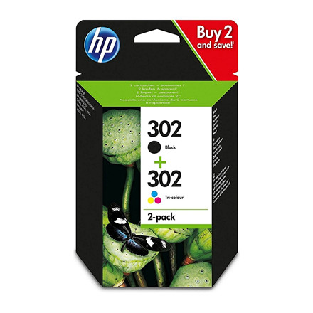 HP No302 ink cartridges combo 2-pack