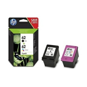 HP No62 black & color ink cartridges (sampack)blister