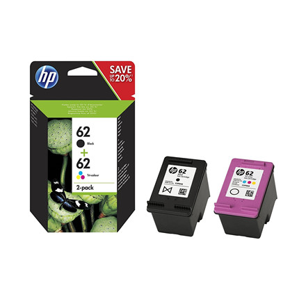 HP No62 black & color ink cartridges (sampack)