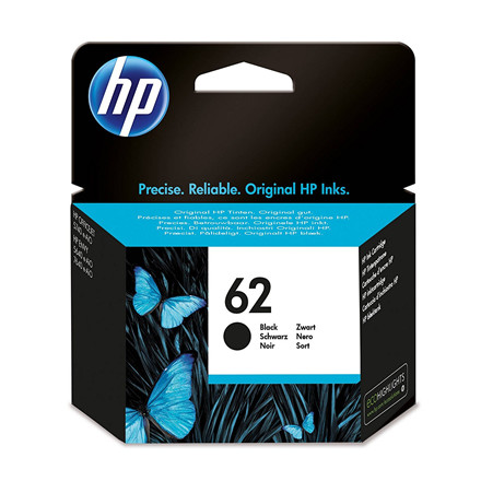 HP No62 black ink cartridge, blistered