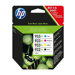 HP No932 XL black/933 XL CMY ink cartrides 4-packblistered
