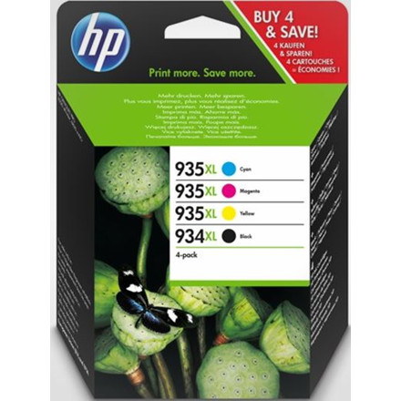 HP No934XL CMYK ink cartridge, combo pack, blistered