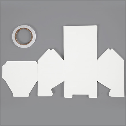 Hus, En-families-hus, str. 8x6,5x7,5 cm, 230 g, hvid, 8stk., 230 g