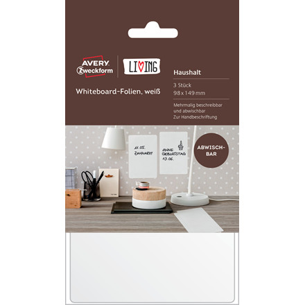 Avery 62013 - Whiteboard folie flytbare 101 x 152 mm - 3 ark